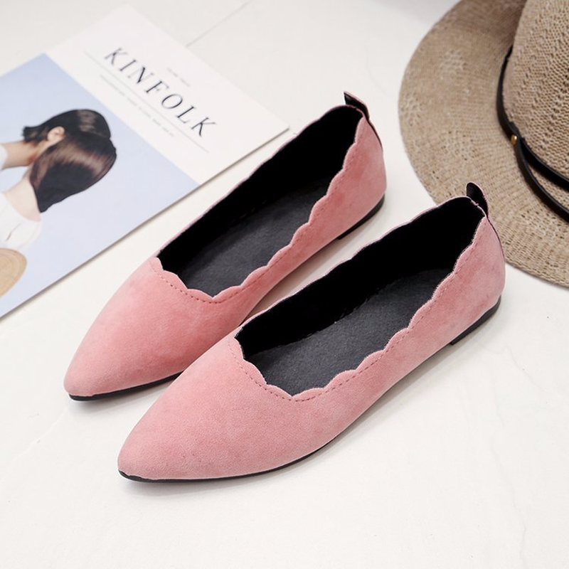 2018 Spring New Fashion Suede Pointed Toe Women Flats Shallow Comfortable Boat Shoes Hot Sale Fashion Casual Lady Driving Flats fashion women shoes woman flats high quality comfortable pointed toe rubber women sweet flats hot sale shoes size 35 40