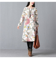 Winter Fleece Lining Thicken Warm Flowers Jumper Dress Ladies Lady Fashion Oversized Long Sleeve Loose Tunic Dress Pullover