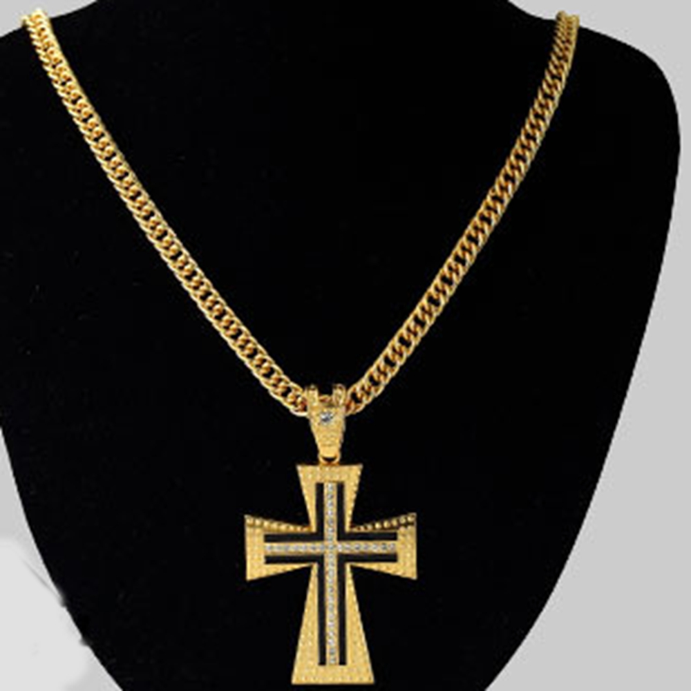 Large Cross Pendant 18k Yellow Gold Filled Mens Crucifix Pendant Chain Necklace Inlaid Cz