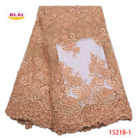 Pink African Lace Fabric 2018 High Quality Green Gold French Mesh With Stones Embroidered Lace Trim For Wedding Dress NA1521B 3