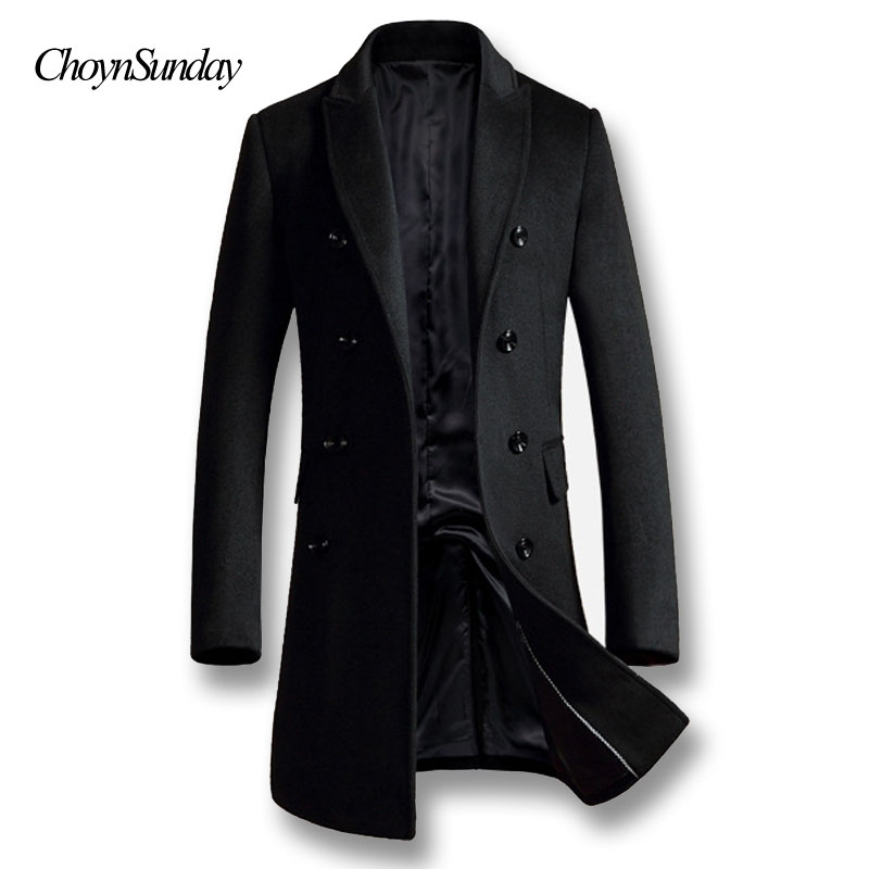 ChoynSunday 2018 Men Autumn Winter Coat Overcoats Jacket Men Casual Fashion Slim Fit Large Size Outwear Popular Black Gray Wool