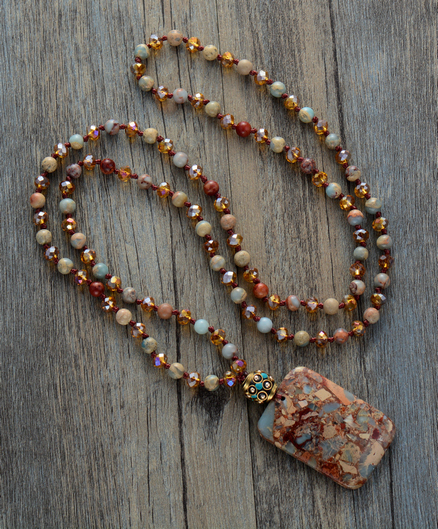 Necklace: Natural Stones Crystal with Semi Precious Nepal Pendant Charm