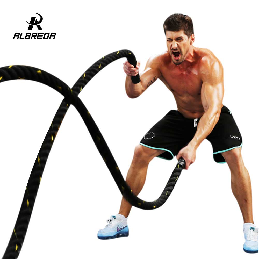 ALBREDA 1.5'' * 30' Power Training Rope Battle Ropes Gym Workout Training Rope fitness training 30ft sports exercise 9m*38mm workout fitness training climbing rope 1 5 diameter no mounting bracket needed battle rope 15 20 25 30 35 40 50 feet