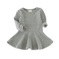 Fashion Soft Cotton Blends Spring Autumn Baby Kids Girls Dresses Long Sleeve Toddler Girls O Neck