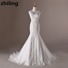 Charming Mermaid Lace Wedding Dresses Sexy V-neck Bridal Wedding Gown Robe De Mariage Customized Bride Dress