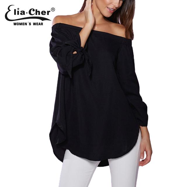 Fora Do Ombro Barra Pescoço Das Mulheres Blusas 2017 Tops Plus Size Elia Cher Algodão Chic Senhora Elegante Camisas casuais Blusas de Marca 0318