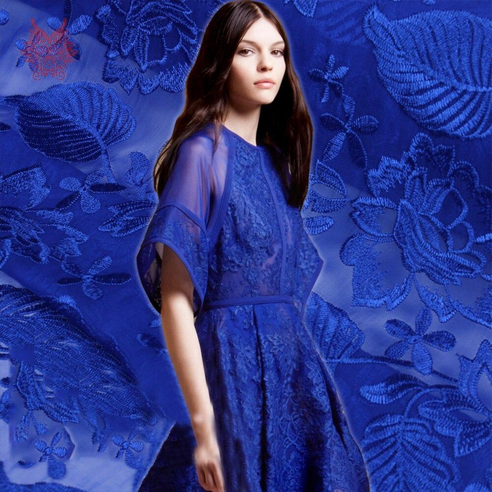 Amerykański styl luksusowe niebieski kwiatowy haft żorżeta jedwabna tkaniny na wesele sukienka na imprezę jedwabiu tissu tecidos stoffen SP4721 w Materiał od Dom i ogród na  Grupa 1