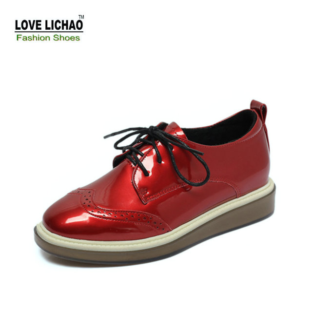 Love Lichao Red Oxford Shoes For Women Spring Round Toe Lace-up Casual Rubber Flat Shoes Women's Shoes Zapatos Mujer Size 35-39