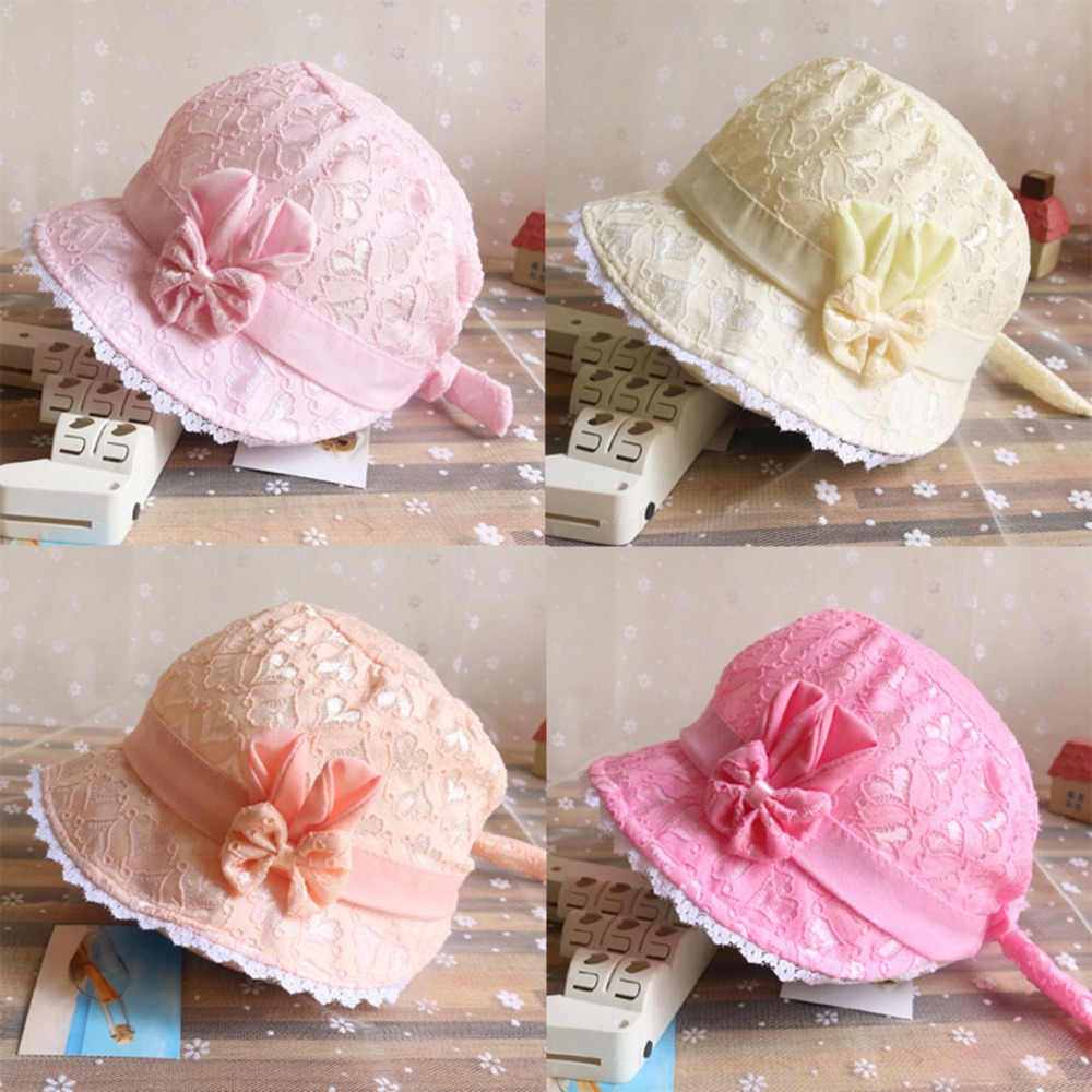 Solid Color Lace Hollow Baby Girl With Bow Toddler Kids Beach Bucket Hats Cap Summer Cute Princess Baby Hat fit for 3- 18 months
