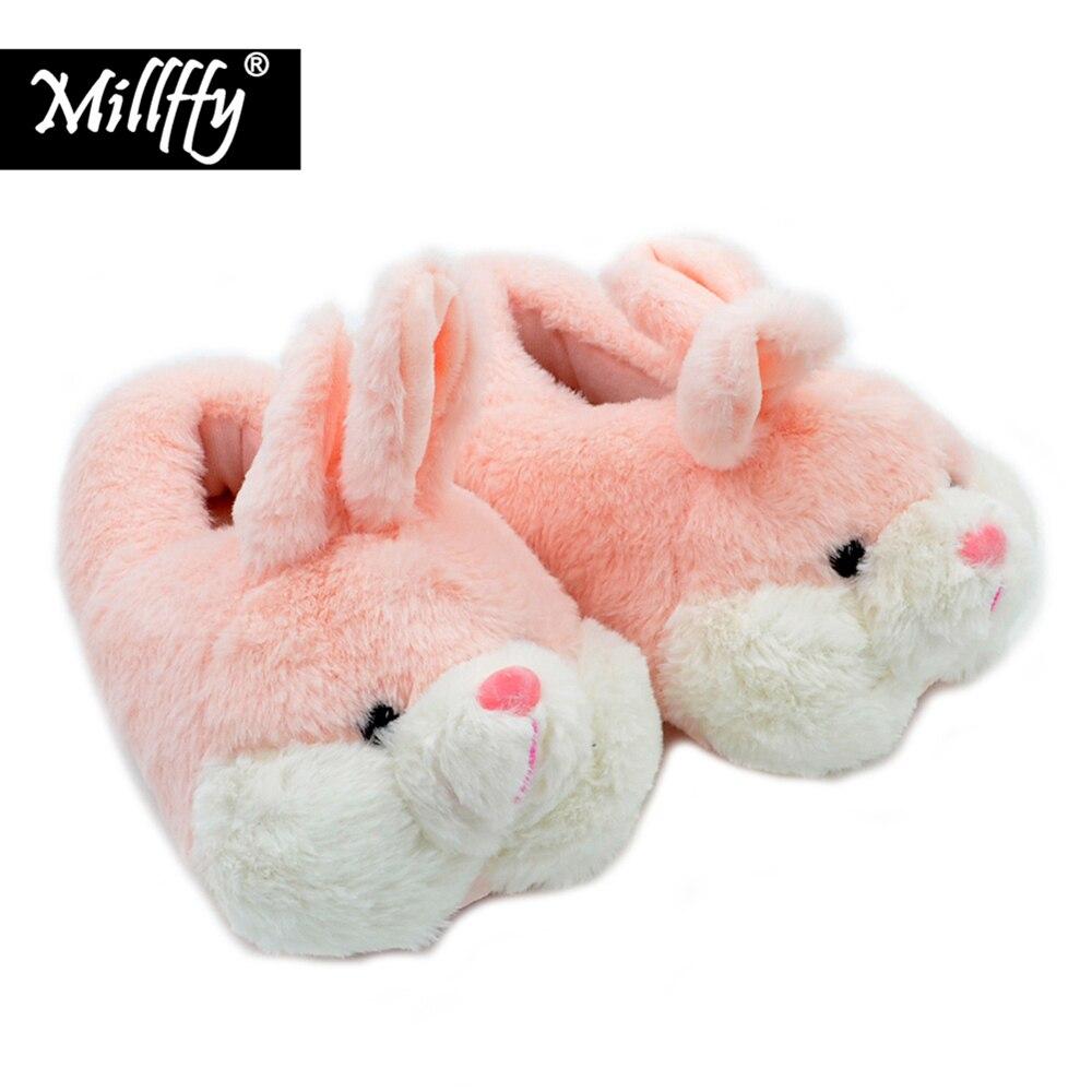 Millffy Velvet Slippers Hamster Indoor-Shoes Plush Comfortable Pink Rabbit Winter Warm