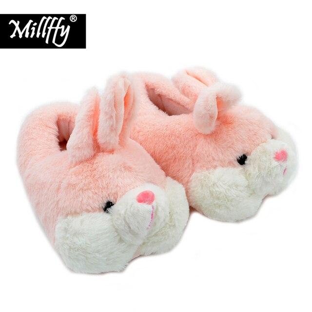 Millffy adorável coelho rosa de pelúcia inverno quente chinelos de veludo confortável interior sapatos hamster bunny chinelos de gato de pelúcia