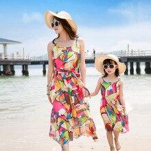 2016 НОВЫЙ Семья установлены новый богемный курорт пляж платье шифон мать дочь платья Лето