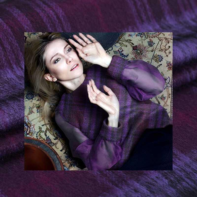 Purple Plaid Angora Wool Fabric Fashion Fleece Plush Fabrics Soft Tecidos Para Roupa For Dress Coat  Telas Por Metros DIY Cloth