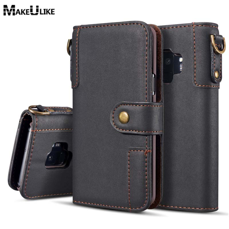 MAKEULIKE Strap Wallet Case For Samsung Galaxy S9 Plus Flip Cover PU Leather Fashion Phone Bag Cases For Samsung S9 S9Plus Pouch