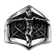 INRI Crucifix JESUS Cross Ring Silver Stainless Steel Christian Men Prayer Rings Vintage Punk Jewelry