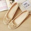 Moda Sapatos Baixos Para As Mulheres Respirável Bonito Flores Mulheres Mocassins PU Sapatos de Couro Mulher Apartamentos Tamanho Grande Sapato de Balé Mulher 35-42