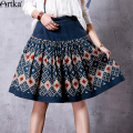 Artka Women's Spring New Ethnic Printed A-Line Skirt Vintage Knee-Length Wide Hem Skirt With Pockets QA10562Q