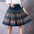 Artka mujeres del resorte nueva étnico impreso rodilla-longitud de una línea de falda vintage amplia dobladillo de la falda con bolsillos qa10562q