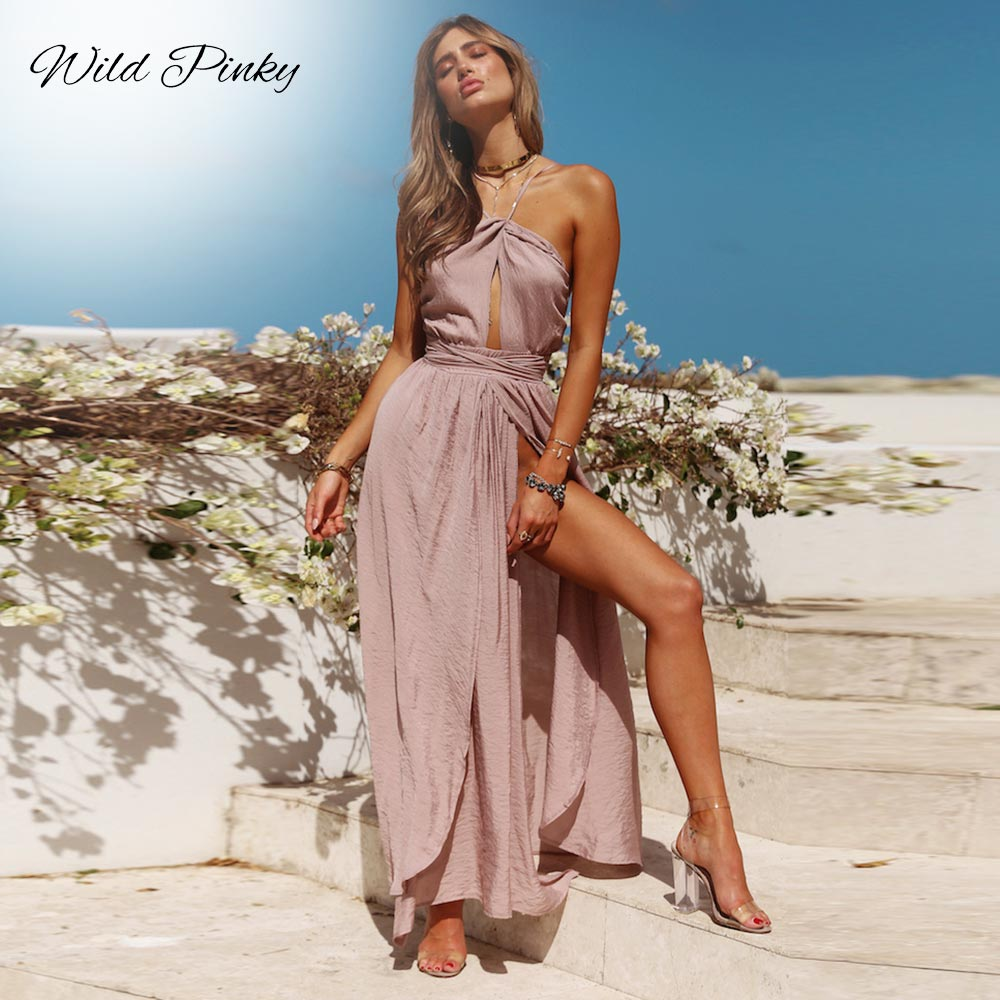 WildPinky 2019 New Women Summer Boho Maxi Long Dress Evening Party Beach Dresses Sundress Backless Halter Dress Summer Vestidos