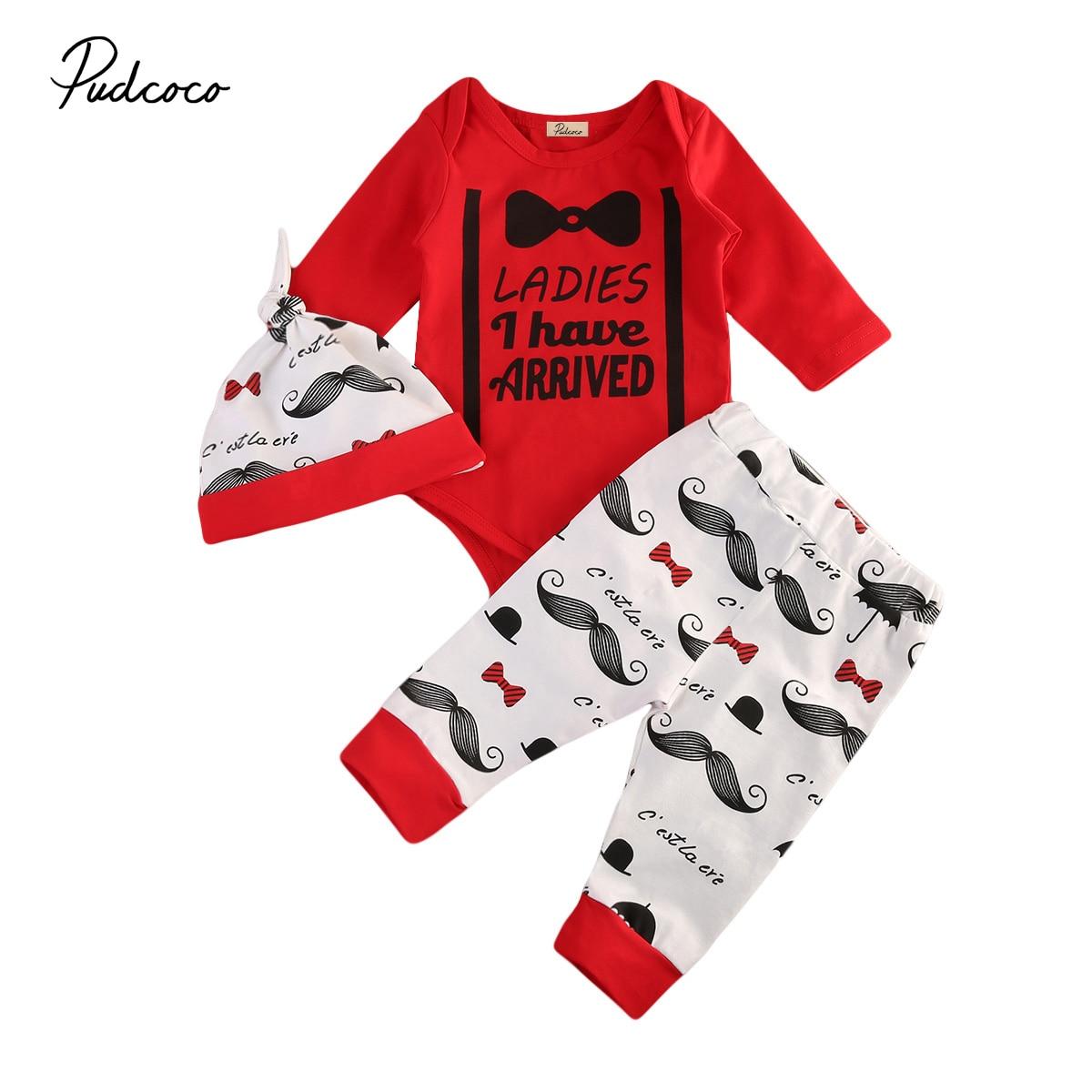 Pudcoco 3Pcs Newborn Baby Boys Gentleman Cotton Long Sleeve O-Neck Bodysuit Pants Hat Outfits Set 0-24Months Helen115