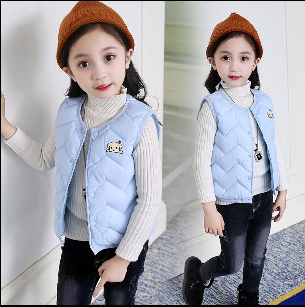 2018 children's down cotton vest new boys and girls lightweight warm vest jacket autumn  and winter baby vest vest