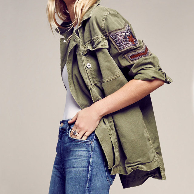 Allover Trim Hem Pockets Autumn Women Jackets Bomber Embellished Military Shirt Overcoats Luxe Bead Long Sleeve Causal Outerwear