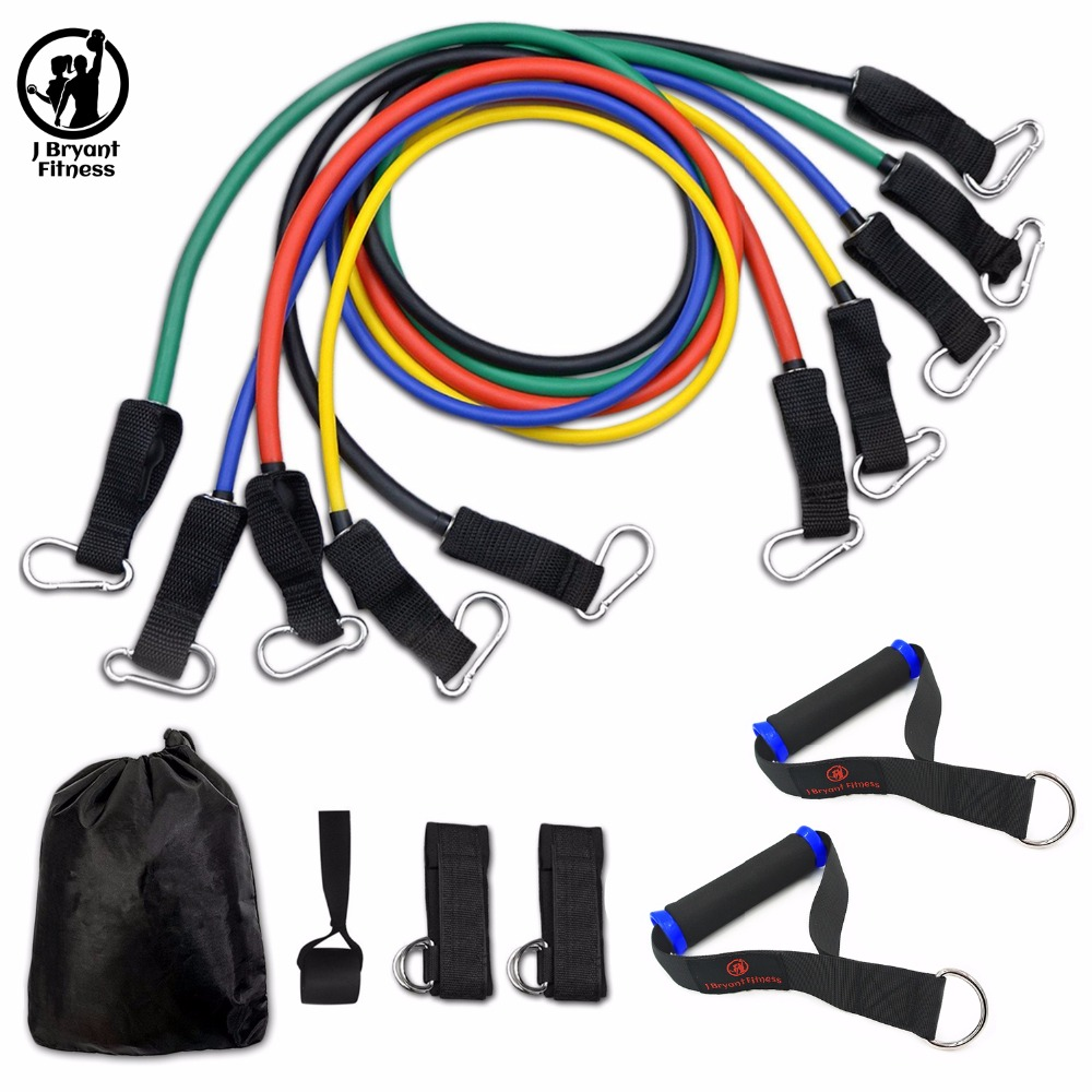 11pcs Resistance Band Set with Door Anchor Handles Ankle Straps For Home Gym Workouts Training Exercise Tubes Fitness Equipment