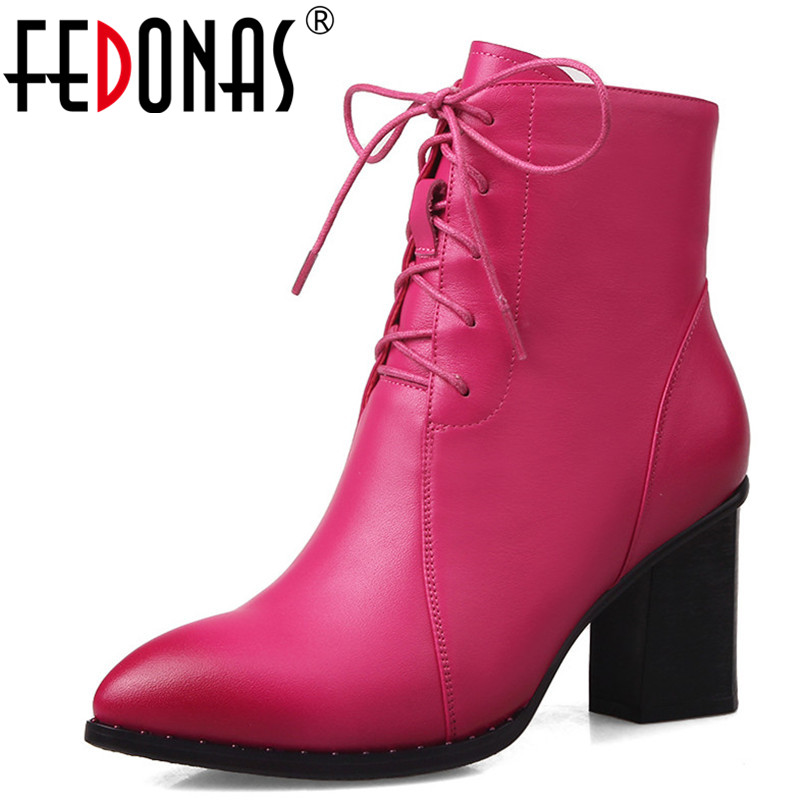FEDONAS Brand Women Ankle Boots Genuine Leather Autumn Winter Martin Shoes Woman High Heels Lace Up Knight Boots Office Pumps