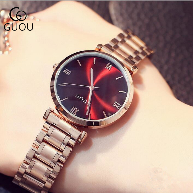 GUOU Watch Women Top Brand Luxury Rose Gold Quality Women Watches Fashion Full Steel Elegant Watch relogio feminino reloj mujer guou watch women luxury rose gold ladies watch auto date full steel quartz watch wristwatch fashion reloj mujer relogio feminino