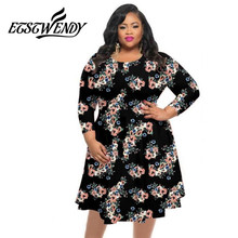High Stretch Big Size Summer Dress 2018 Women Dress Print Hem Loose Dress Tighten Waist Plus Size Women Clothing Knitted Vestido