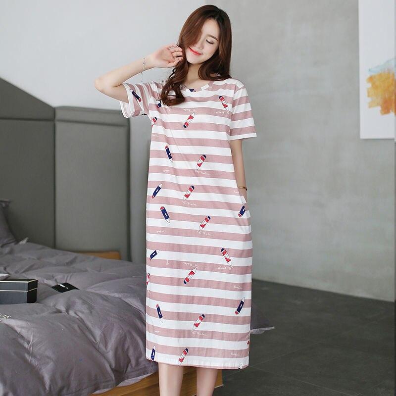 Summer Plus Size Womens Nightwear Nightdress Print Thin Sexy Nightgowns Ladies Sleeping Dress Loose Womens Sleepwear Home Dress