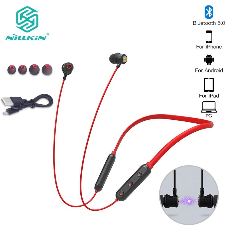 NILLKIN true wireless Bluetooth earphone 5.0 neckband headphone microphone Metal Magnetic Headset Earbuds Gaming Running sport מסרק כינים