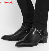 Yellow Wyatt Ankle Boots Western Style Black Leather Motorcylcle Boots Men Gentlemen Shoes Fall Winter 2018 Mens Martin Boots