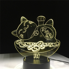 3d Led Night Light Lamp Lucky Cat Maneki Neko Figure Home Decoration Child Holiday Gift for Kids Bedroom Nightlight Baby