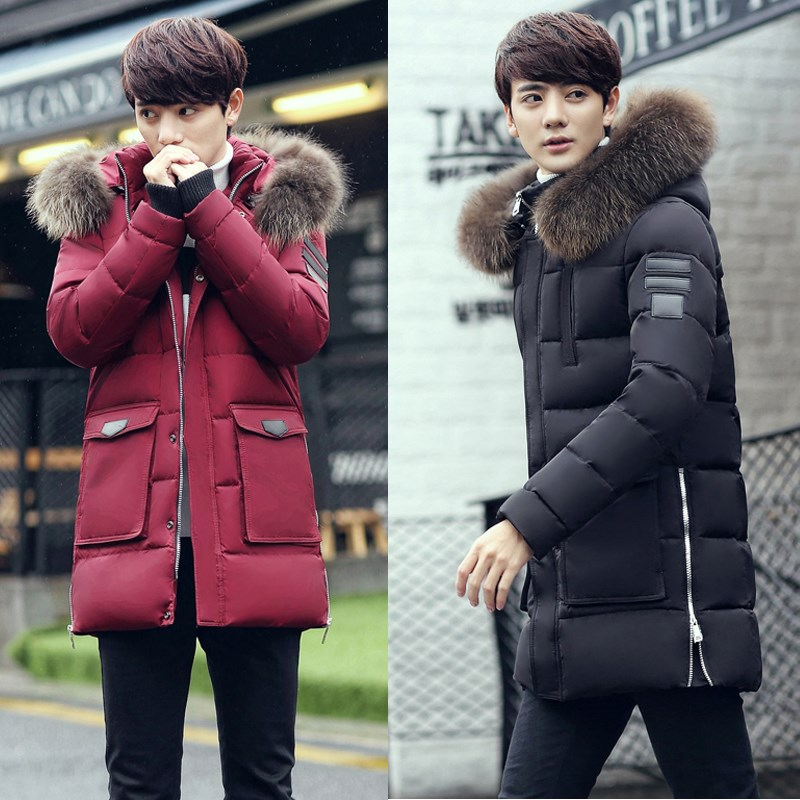 B Men Medium Long Hooded Jackets Coat Winter Thicken warm male Outerwear   Parkas   fur collar Dismountable cotton-padded jacket