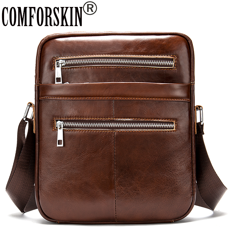 COMFORSKIN New Arrival Male Cross body Bag Luxury Cowhide Leather Retro Men Messenger Bag High Quality Men Leather Handbag 2019 in Crossbody Bags from Luggage Bags