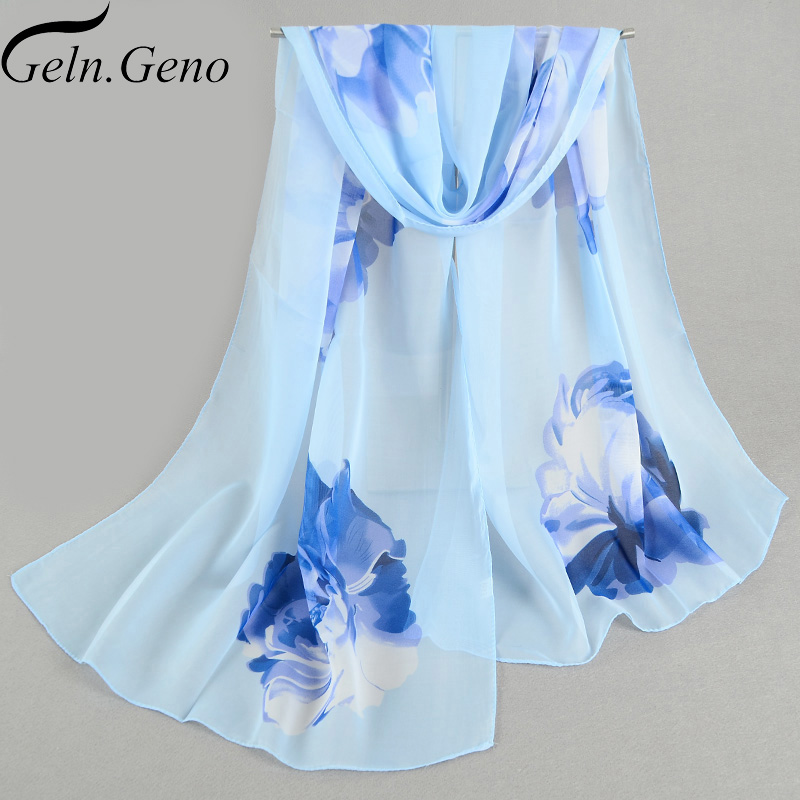 2018 New Women Chiffon Silk Scarfs Fashion Spring Summer Shawls And Hijabs Square Polyester Scarves Print flowers Shawl