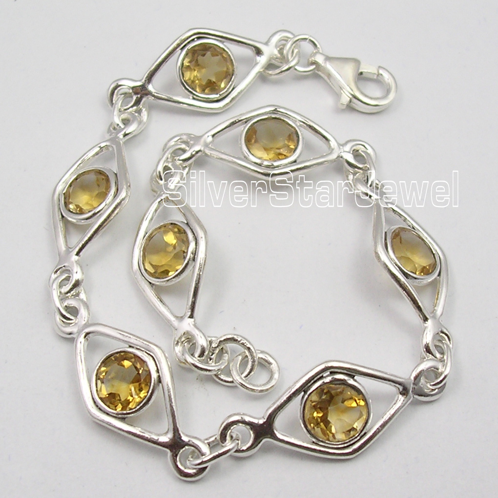 Chanti International . Solid Silver Authentic YELLOW Citrines DECO Bracelet 7 5/8 Inches ONLINE BUY