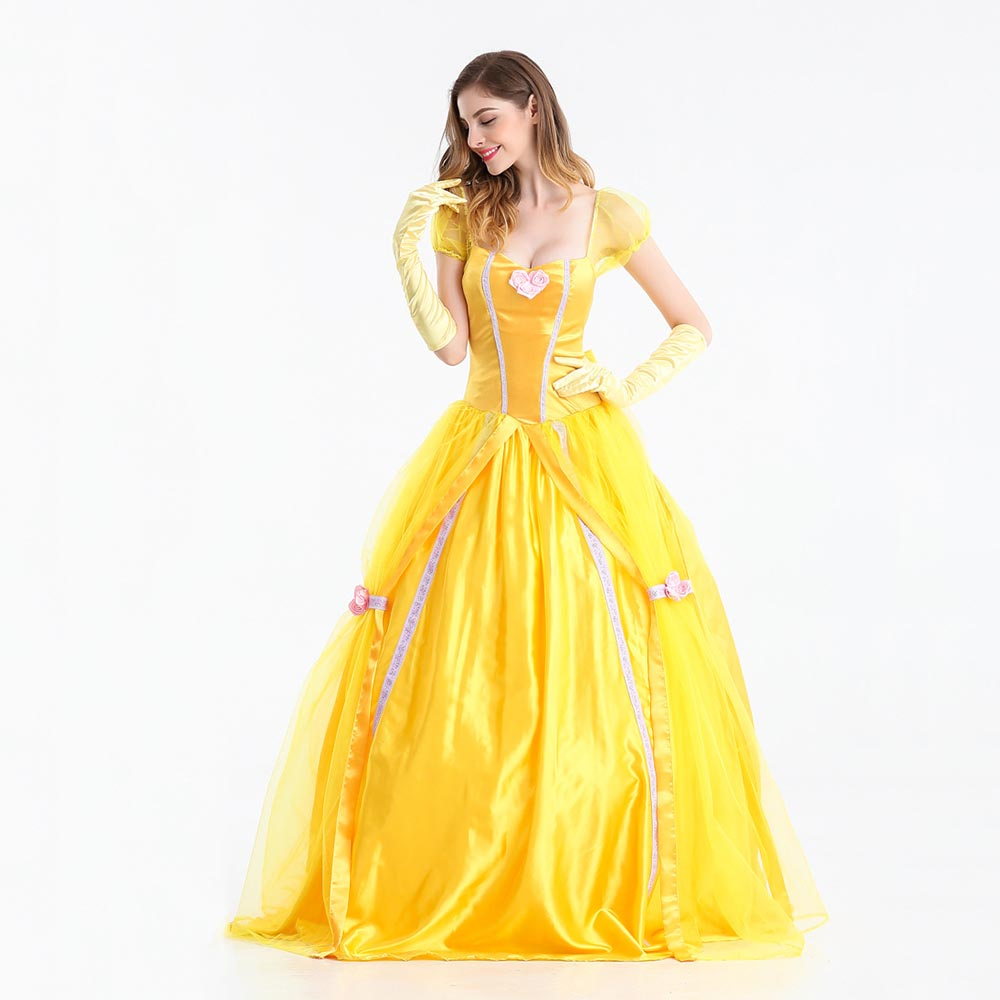Women\'s Belle Costume Fairytale Princess Long Dress Gown Beauty and ...