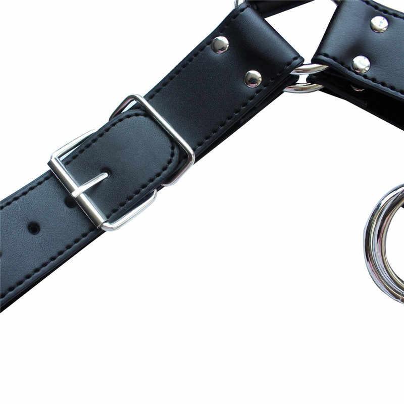 Кожаный жгут мужской жгут БДСМ гей кожа Фетиш связывание во взрослой игры черный кожаный регулируемый нагрудный ремень для тела