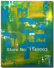 large Abstract modern canvas art green blue knife paint oil painting only on canvas for living room wall office decoration