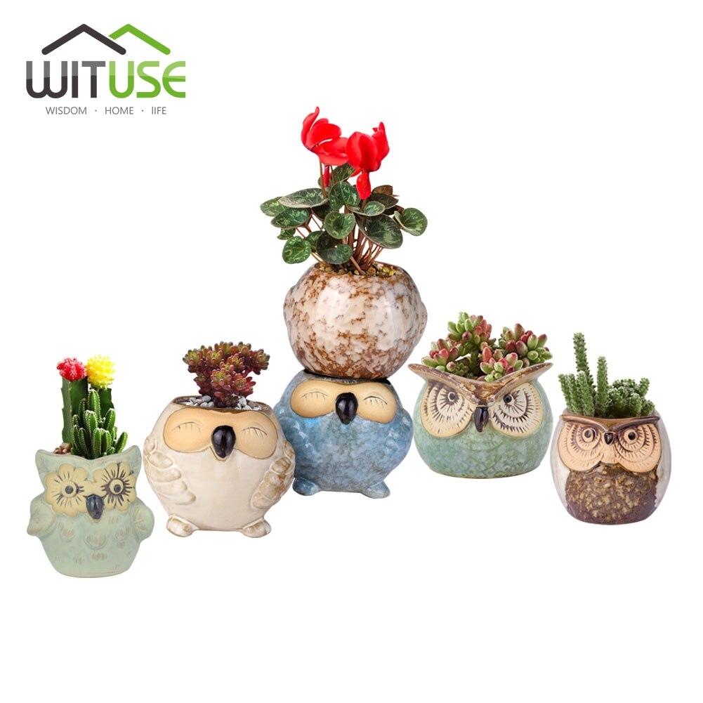 6pcs/set Cartoon Ceramic Owl Flower Pot Succulent Pot Fleshy Planters Small Pottery Vase Home/Garden Pot Planters Gardening DIY