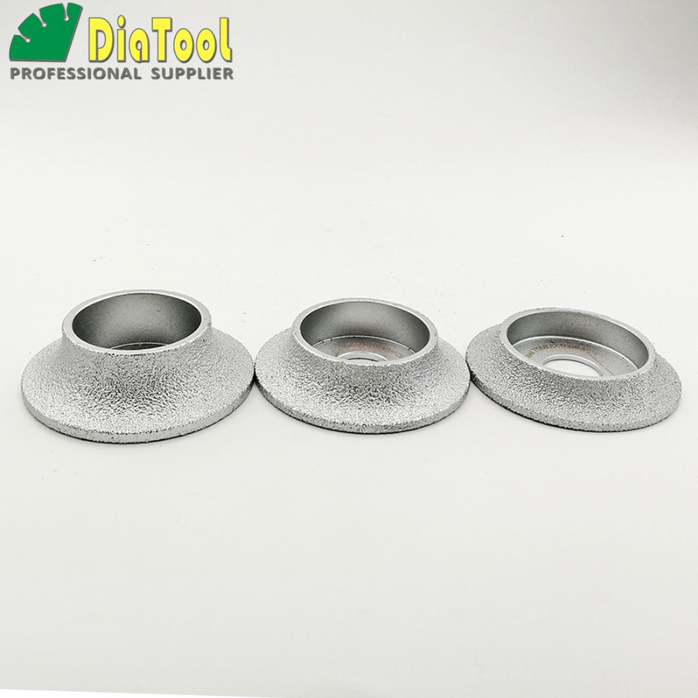 DIATOOL Vacuum Brazed Diamond Grinding Wheel Demi-bullnose Edge Profile Diameter 3 Inches/<font><b>75mm</b></font> Grinding <font><b>Disc</b></font> Diamond Wheel image