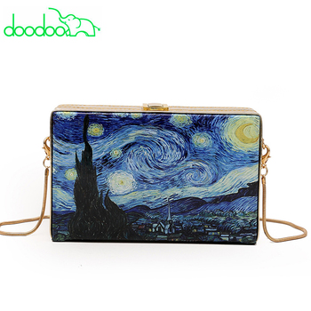 Van Gogh Painting Works Starry Sky Painting Chain Shoulder Messenger Bag Flap Clutch Purse Women Leather Handbags Sac A Main shoulder bag