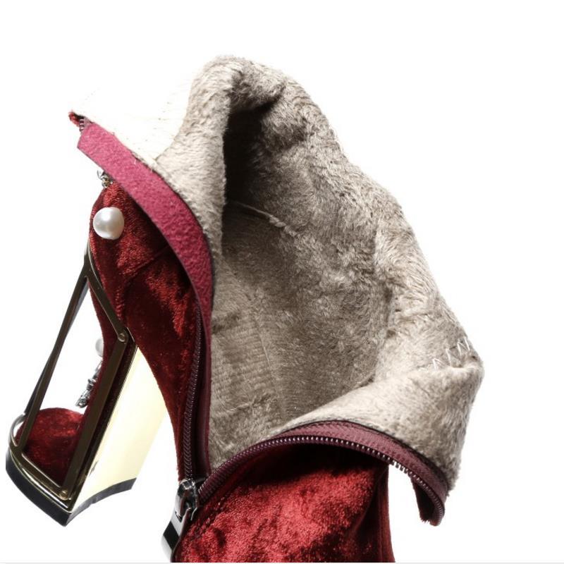 Bottes D'hiver Cloth De red pink National Style Misakinsa Fleur Talons Taille Cloth red Pink Femmes 43 Perles À Zipper 33 Fur Chaussures Cheville Fourrure Fur Chaud Vintage Hauts A1YqXF