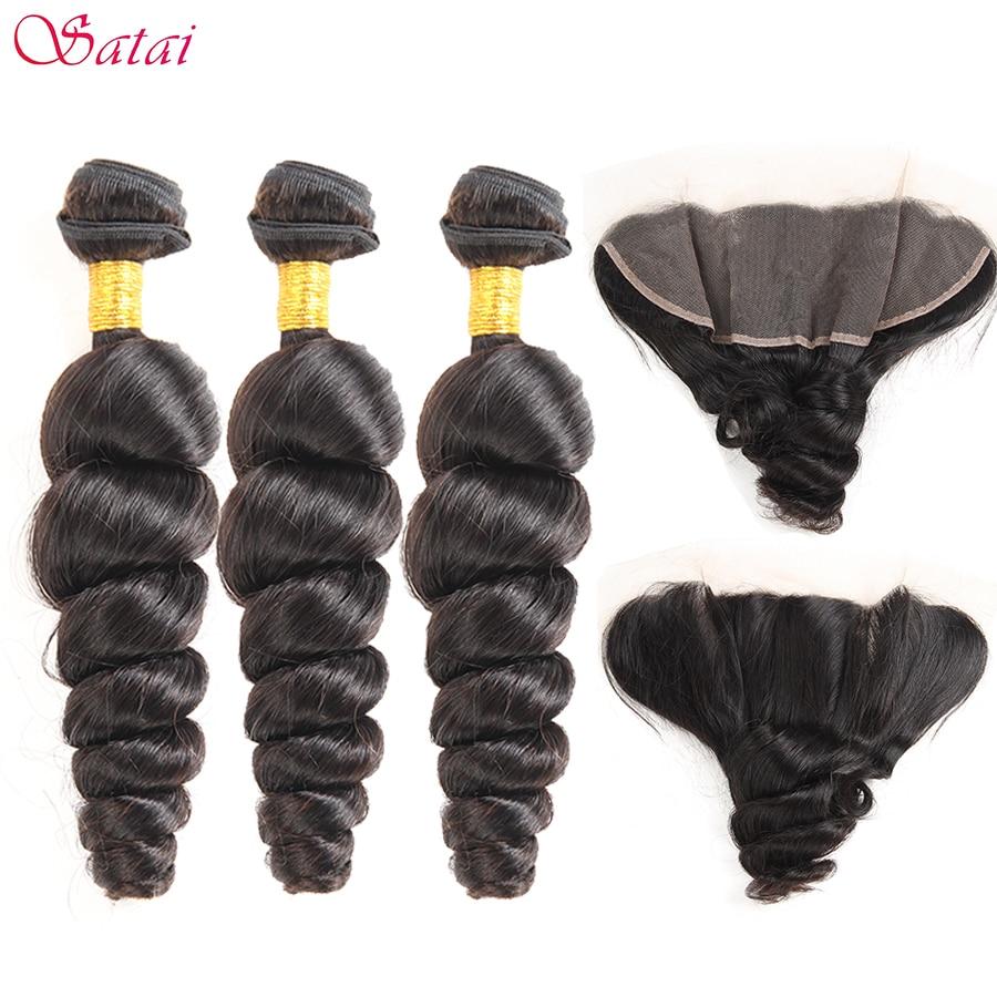 Satai Loose Wave Human Hair 3 Bundles With Frontal Natural Peruvian Hair Lace Frontal With Bundles