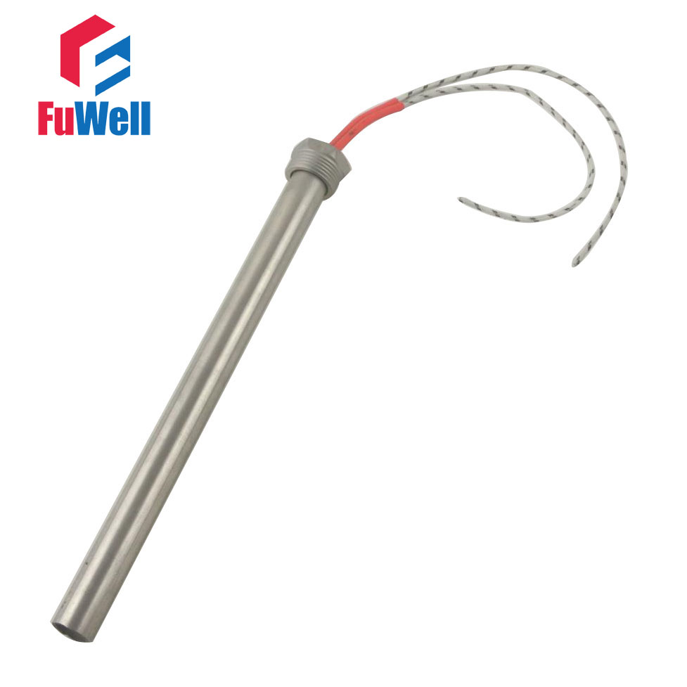 304 Stainless Steel Threaded Single End Heating Tube Cartridge Heater 16x250mm 1500W 220V/110V/380V DN20 (25mm)