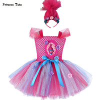 Troll Poppy Tutu Dress Baby Girl Tulle Princess Dress Kids Halloween Cosplay Costume Girl Festival Birthday