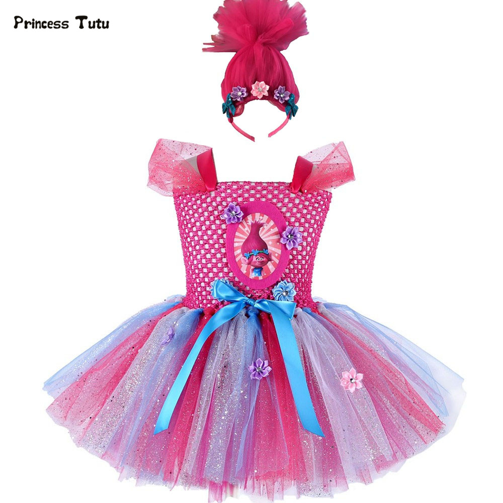 Troll Poppy Tutu Dress Baby Girl Tulle Princess Dress Kids Halloween Cosplay Costume Girl Festival Birthday Party Cartoon Dress children girl tutu dress super hero girl halloween costume kids summer tutu dress party photography girl clothing