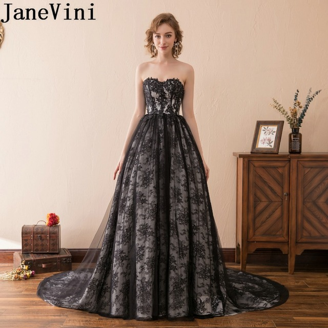 6715a688254 JaneVini Elegant Black Lace Godmother Wedding Party Dress Sweetheart Long  Train Mother Of The Bride Dresses A Line Evening Gowns